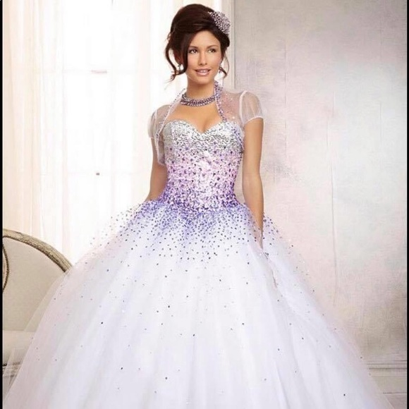 White with Purple Beads Prom Gown ❤️